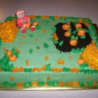 Halloween Birthday Cake For mulitiple birthdays. Marbled wasc cake with buttercream frosting and fondant accents, garden was crushed oreos. TFL