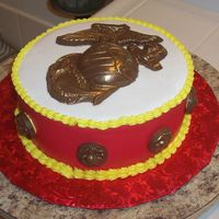 Marine Corps Birthday I made this for a fundraiser for my husband's squadron for their birthday ball funds. It was a chocolate cake with Nutella filling....