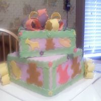 Baby Shower This is a baby shower cake for a little girl. The bottom tier is yellow cake frosted in almond buttercream and the top tier is chocolate...