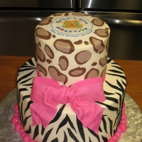 Build A Bear-Wild Animal Cake Cheetah and zebra stripe cake. All decorations are made of fondant.