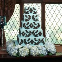 Chocolate/blue Hydrangea Hi sugar friends -This is one of the photos from the BloomNet floral book. I made the cake. Brown details are chocolate. Fresh blue...