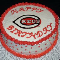"Cincinnati Reds Cake This is the ""cake disaster"" that I wrote about in the forums. I tried to save it the best I could for my friends birthday. All BC..."