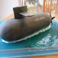 "Submarine Cake This is a submarine cake ""USS Jared"" that we made for my son's 8th birthday."