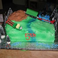 Happy 5Th Birthday, Thomas! Well the child's name wasn't Thomas but he sure did love the show! The cake is a dark chocolate cake with vanilla buttercream and...