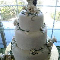 Rose And Vine Wedding Cake This is a 3-tier wedding cake I made this past weekend. The top tier is banana with vanilla buttercream, 2nd tier is marble cake with...