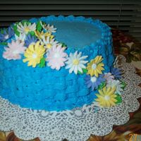 Daisys In The Blue   After Wilton Course 2 I wanted more practice and make this cake for fun.