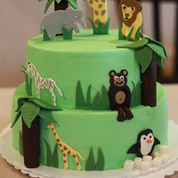 Zoo Birthday Cake 1st birthday cake for a party held at the Houston Zoo. I also included 3 smash cakes for the birthday girls/boys. They were just 1 layer 4&...