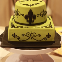Fleur De Lis Baby Shower Cake Cake was inspired by the baby's bedding and the shower invitations. I used a paper punch tool for the small fleur de lis. It worked...
