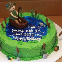 "40Th Birthday Cake 12"" round iced in buttercream with piping gel water. The fisherman is gumpaste, the boat is modeling chocolate and all other..."