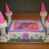 Barbie Diamond Castle Original order was for a Barbie sheet cake but changed her mind and wanted towers. This is 2 layer 9x13, vanilla cake, bc frosting, mmf for...