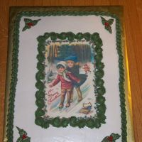 Old Time Christmas white cake, bc icing, edible image