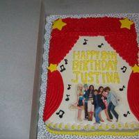 High School Musical White cake, BC icing, picture was a greeting card that I had laminated.