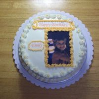 Bday Cake W/edible Image 2 Layer cake, one layer chocolate and one layer french vanilla, bc icing, edible image.