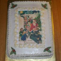 Vintage Santa White cake, bc icing, edible image, bc holly, finished with edible gold dust