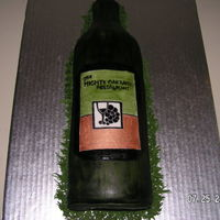 Wine Bottle Cake red velvet with almond bc. hand painted, hmf.