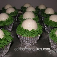 Golf Ball Cupcakes This was made for the 2010 US Golf Women Open the balls are made with a candy mold filled with vanilla butter cream.