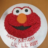 Elmo Birthday Cake Buttercream with fondant mouth, nose and eyes. TFL!