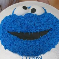 Cookie Monster Buttercream with fondant mouth & eyes. TFL!