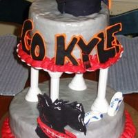 Kyle's Grad Cake The orange and black represent my brother's high school graduation colors. The gray, red and black as well as the Scottie Dog are the...