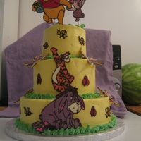 Pooh And Friends Baby Shower Cake The characters and butterflies, ladybugs, and bees are chocolate transfer. Thank you Merissa for your inspiration and help. The rest is...