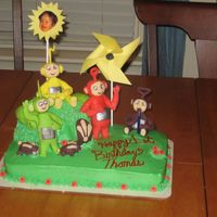 Teletubbies Cake This was for my son's first birthday, he just loved it. The Teletubbies and bunnies are made of fondant and the rest is buttercream. I...