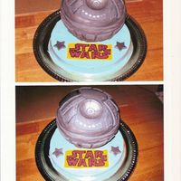 Star Wars Deathstar Cake I made this for a 12 year old boy mad about star wars. The deathstar is covered in fondant with silver luster powder. The blue cake is...