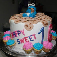 Cookie Monster Sweet Sixteen Cake  vanilla bean pound cake & marble butter cake layers w/cherry cream filling, covered in cherry chocolate ganache and fondant. vanilla...