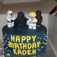 Lego Star Wars  this cake was fun... chocolate cake filled with whoppers bettercream ans cover with whoppers buttercream then satin ice fondant. all the...