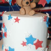 Beary 4Th My first fondant covered cake.... not the best but I'm learning. vanilla bean pound cake with white chocolate truffle filling (thanks...