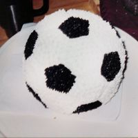 Soccer Cake   this was a 1st try at an soccer cake...way back in 2000 sorry about the quailty of the photo