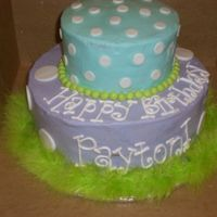 Payton's Bday Two tiered buttercream with fondant accents. Feathers!!