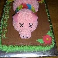 Luau Pig Cake Sheet cake with pampered chef bowls to make pig head and body! Fondant ears and flowers. Copycat from someone I dont know, customer printed...