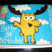 Moose Sheet cake with the moose off Noggin. I had no idea who moose and zee were!!!
