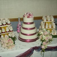 Wedding Cake And Cup Cakes This was my first attempt at a wedding cake and cup cakes for my sons wedding. Four tier rich fruit cake stacked with chocolate and plain...
