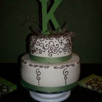 Sweet 16 Birthday Cake White fondant with chocolate scroll work. White chocolate cake with Nutella ganache filling.