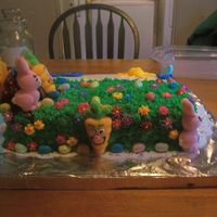 Family Get Together  Butter Pecan cake mix, BC icing, flowers are Royal icing(sun center), marshmallow peeps for the holiday. Stump made from one cupcake(...