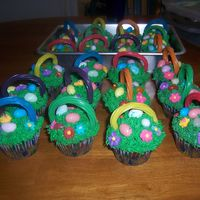 Easter Cupcakes  your choice of mix, made for Sunday School class, jelly beans,licorice handles(with toothpicks to hold handles up), grass is BC icig....