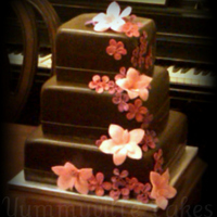 Chocolate Brown Wedding Cake With Pink/purple?fuschia Flowers