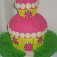 Big Cupcake   I saw this on the Wilton website. I was bored and it was almost my birthday so I made an early birthday cake for myself.