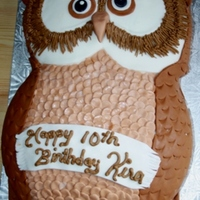 Owl Cake   Owl Birthday with blue cake.