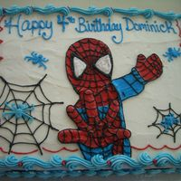 Spiderman This spiderman cake was made for a four year old boy who absolutely loves spiderman!!! It was fun to make with all the spider webs and the...