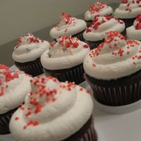Sprinkled Valentine's Cupcakes Nothing extravagant, but I sure had fun with the sprinkles! I used whipped frosting for this one.