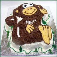 The Wilton Monkey Pan Monkey Cake in Chocolate Fudge with oreos inside!