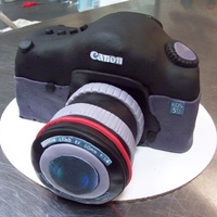 "Canon Camera Cake This was for a bridal shower and the bride was a photographer. Her sister wanted to surprise her with a ""camera cake""!"