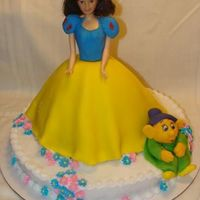 Snow White Birthday Cake Snow White Cake. Fondant covered dress and fondant Dopey figure. Buttercream icing with royal icing flowers.