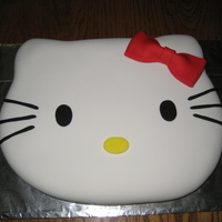 Hello Kitty Cake My 1st time working with rolled fondant! My daughter wanted a HK cake for her 7th b-day. This is a 1/2 sheet cake, carved, rolled fondant,...