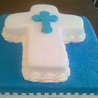 "First Communion Cake 18"" square and 14""cross cakes. French Vanilla, filled with chocolate mousse, iced in buttercream and covered in fondant. TFL"
