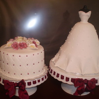 Maria's Shower Bridal Shower cakes...both covered in fondant with gumpaste flowers.