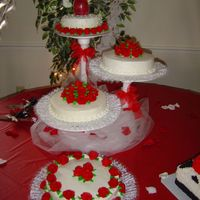 1St Wedding Cake This is my 1st Wedding Cake. Top & bottom are white w/raspberry filling, middle 2 cakes are white w/buttercream and choc w/choc...