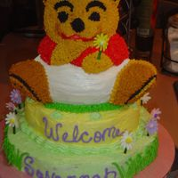 Winnie The Pooh This is a cake I did for friends DIL baby shower. Bottom layer chocolate w/choc mocha filling, top layer white w/raspberry filling, winnie...
